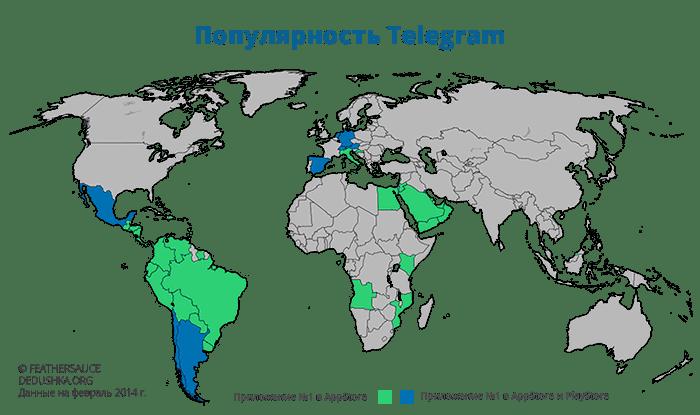 карта популярности Telegram