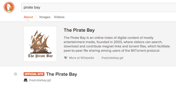 настоящий сайт pirate bay в duckduckgo