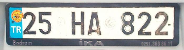 турецкие автомобильные номера