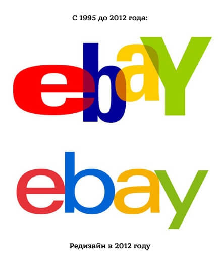 ebay старый и новый логотипы
