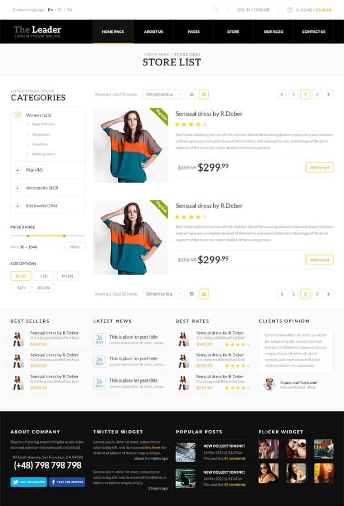leader шаблоны wordpress для интернет-магазинов