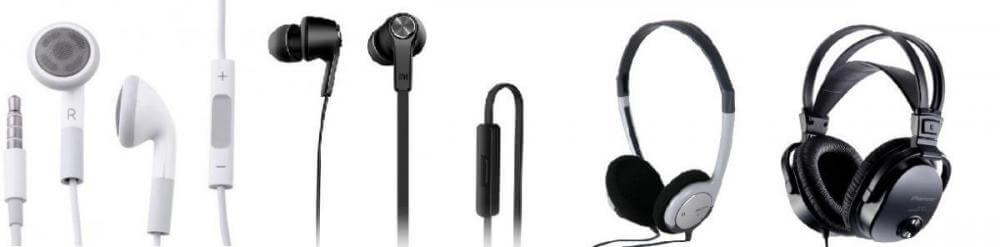 Різновиди конструкції навушників у рядок. Зправа наліво: вставні, внутрішньоканальні, накладні, повнорозмірні.