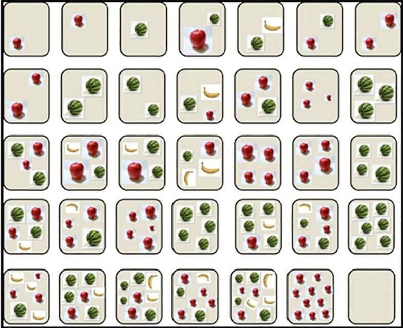 Картинки з певною кількістю різних фруктів до десяти. На картинках присутні кавуни, яблука та банани.