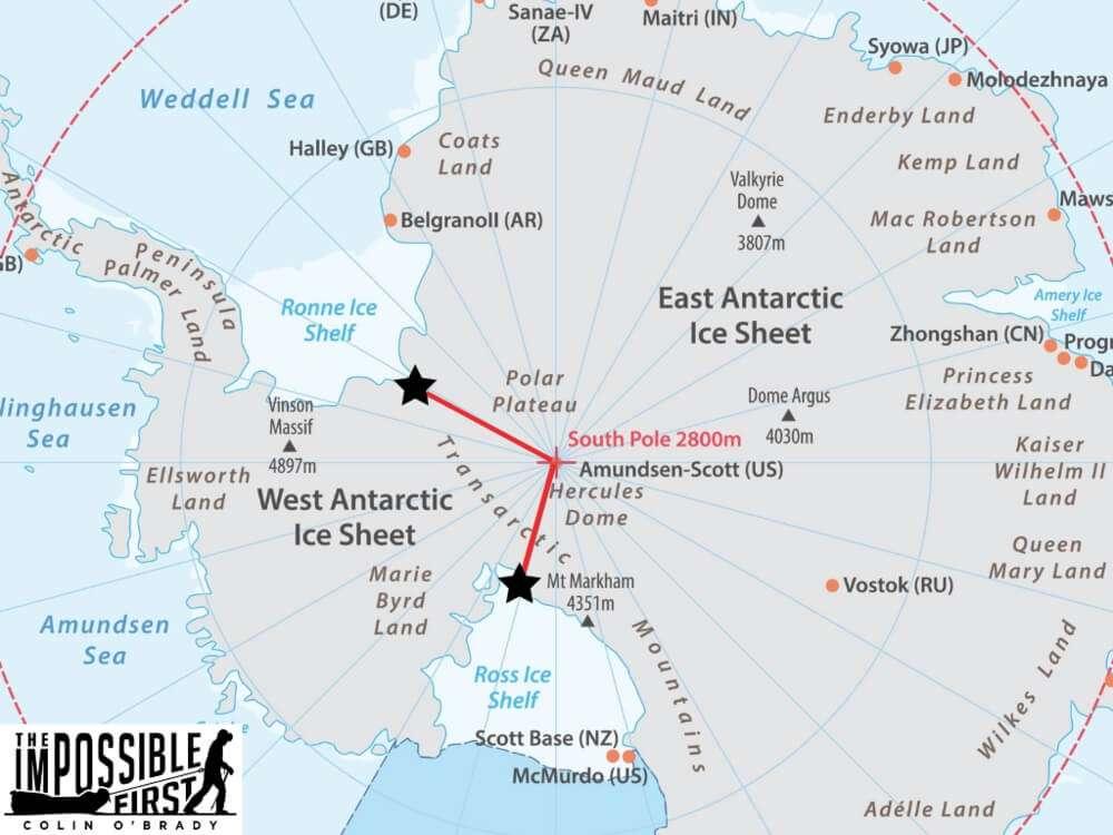Карта Антарктиди з маршрутом О'Брейді