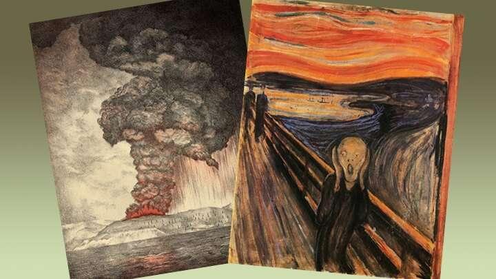 Літографія виверження Кракатау (ліворуч) та картина Мунка «Крик» (праворуч)