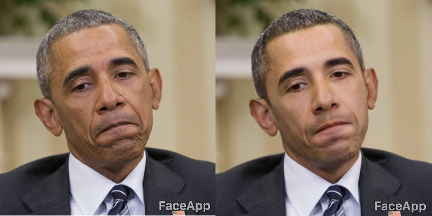 Приклад того, як FaceApp зробив Барака Обаму «привабливішим».