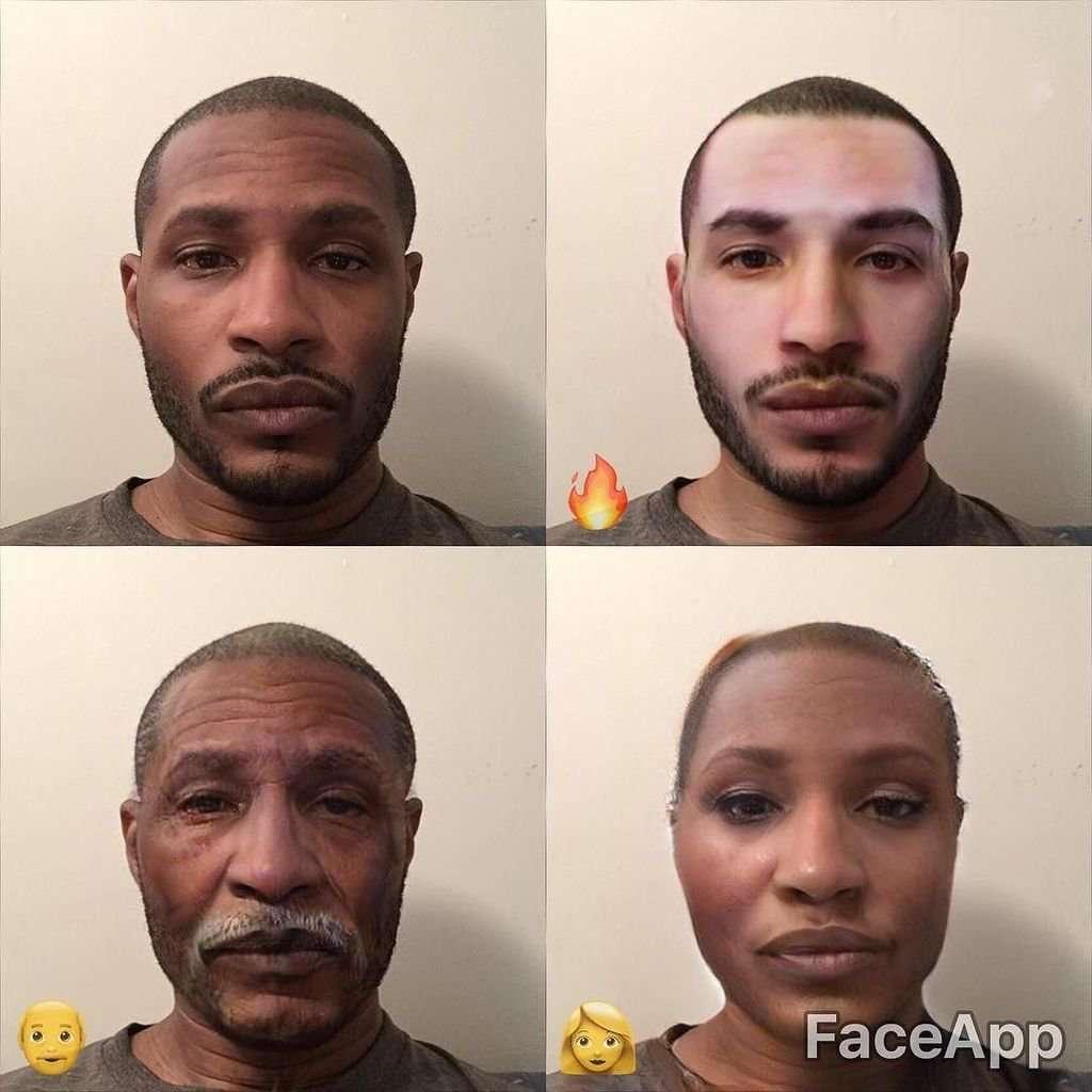 Приклад роботи FaceApp. Праворуч згори — «прикрашання» портрету, що робить шкіру світлішою.