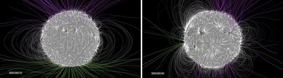 Зміна магнітосфери Сонця з 2011 по 2014 рік