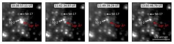 Чотири послідовні знімки із чорною дірою та зірками довкола неї під час спалахів.