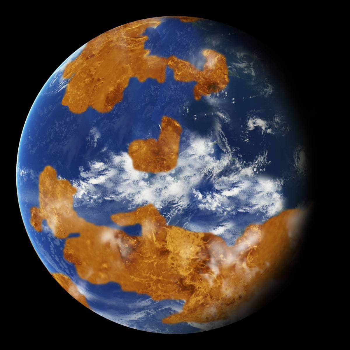 Один з варіянтів того, якою могла бути на вигляд Венера з водою на поверхні та помірним кліматом