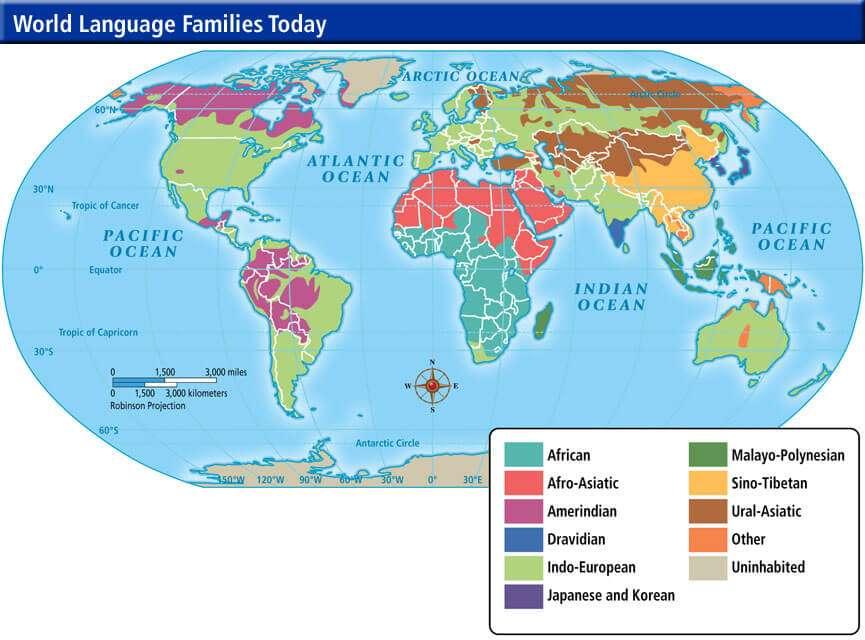 Мапа поширення мовних сімей світу