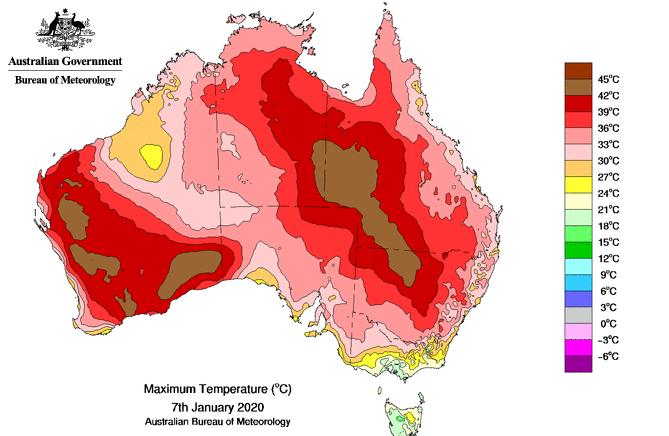 Максимальна добова температура на території Австралії 7 січня 2020 року