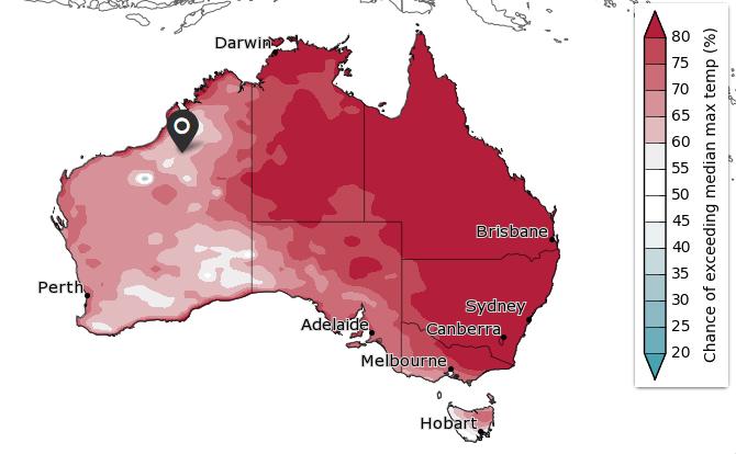 У східній частині Австралії високі шанси (80%) спостерігати температуру вище середньої максимальної (у період з січня по березень)