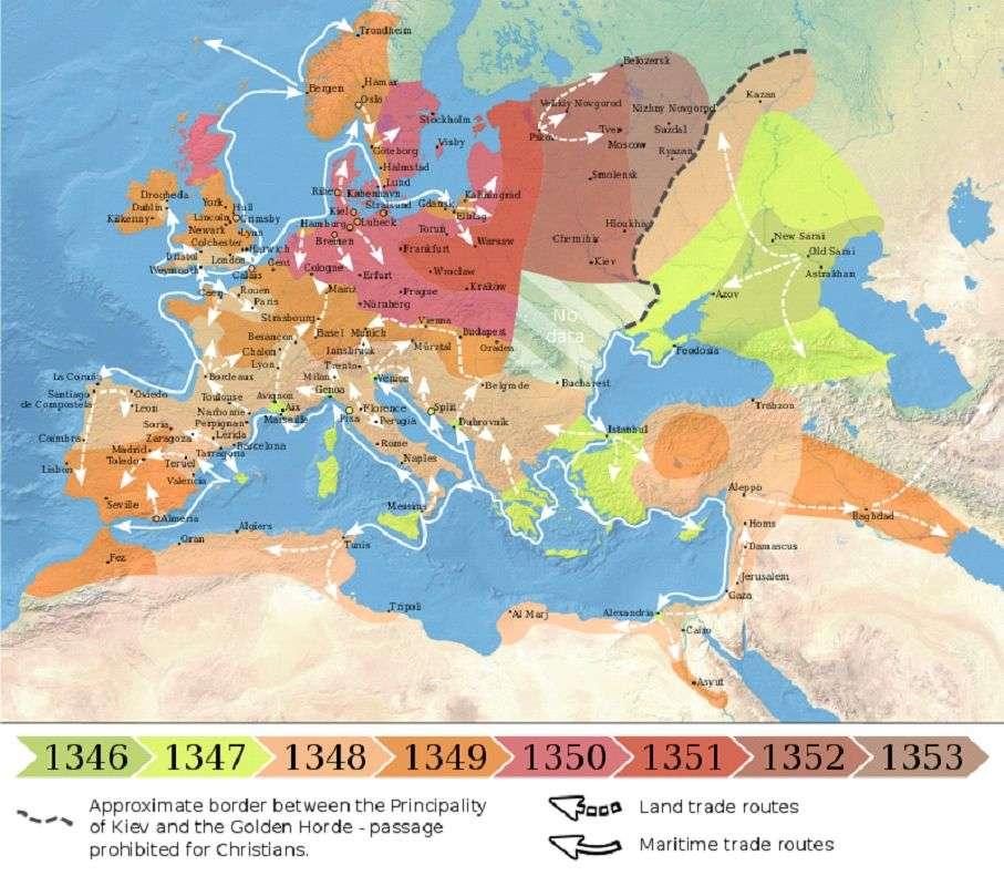Мапа поширення чорної смерті