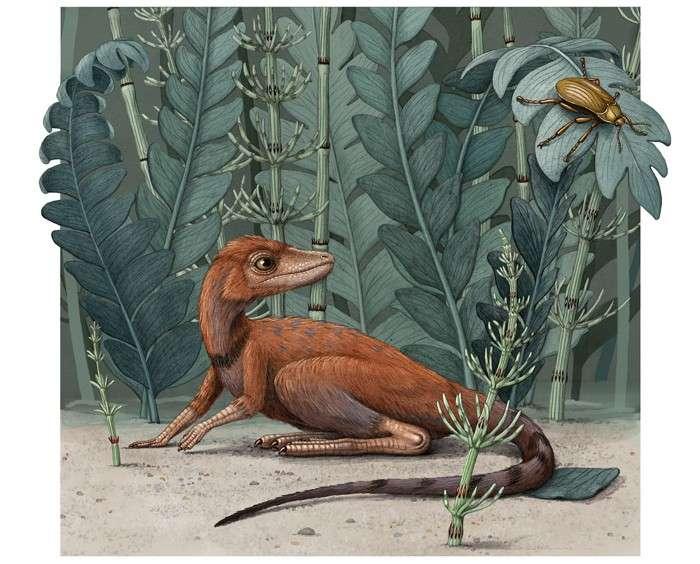 Волохатий динозавр маленького розміру лежить у траві та виглядає комах.