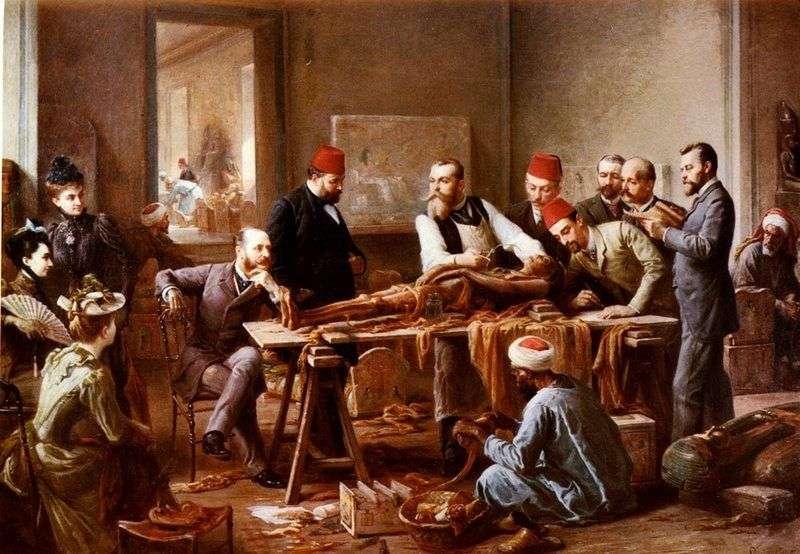 Картина «Розгляд мумії», написана Полом Філіппото 1891 року.