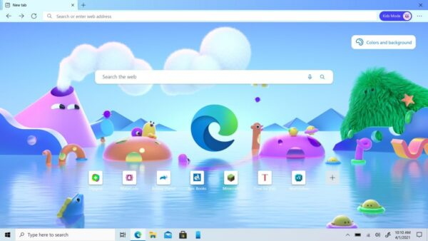 Скріншот головного екрану Microsoft Edge