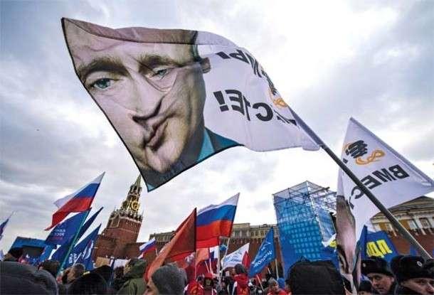 Прихильники Путіна на Червоній площі в Москві 18 березня 2014 року з нагоди початку тимчасової окупації Криму. Фото - Дмитро Серебряков