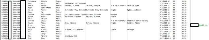 Приклад опублікованих даних користувачів Facebook