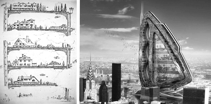 Перші концепти вертикальних ферм у містах: a) малюнок у Life' Magazine, 1909 рік; b) Vincent Callebaut, Dragonfly High-Rise Farm for New York City, 2009 рік. Джерело: ResearchGate