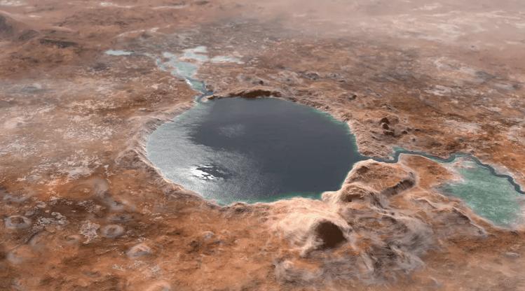 Кратер Езеро, помічений марсоходом Perseverance у лютому 2021 року. Озеро, звісно ж, змодельоване. Джерело: NASA/JPL-Caltech