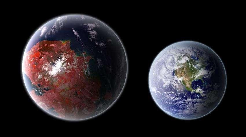 Порівняльна візуалізація Kepler-442b та Землі. Джерело: Ph03nix1986 / Wikimedia Commons