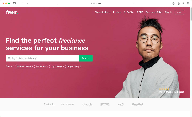Скріншот стартової сторінки Fiverr