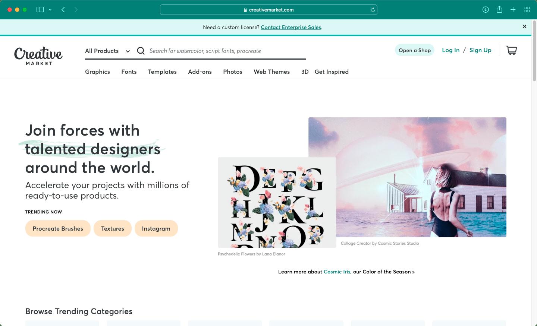 Скріншот стартової сторінки Creative Market